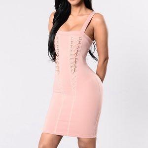 NWT FASHION NOVA Mauve Lace Up Bodycon Mini Dress